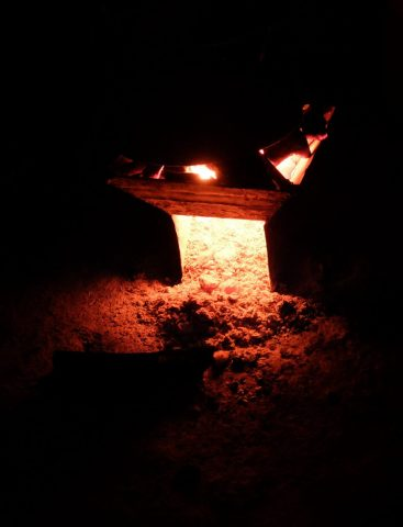 The charcoal stove, after boiling water for nighttime tea.