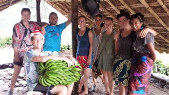 We found a shelter with some Mozambicans. And some bananas.